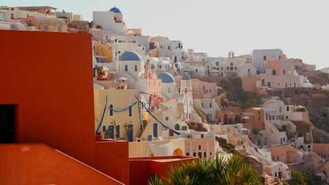 Multi colored houses line the hillsides of the Gre Stock Video Footage