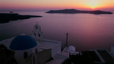 An amazing and beautiful sunset behind a Greek Ort Stock Video Footage