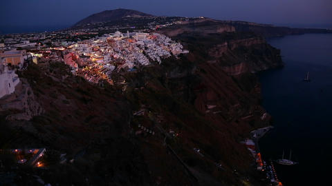 A wide shot of a village on the cliffs of Santorni Footage