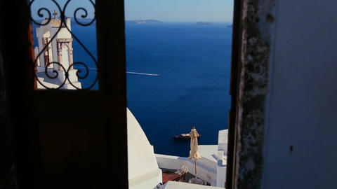 View through doors on the island of Santorini in G Stock Video Footage