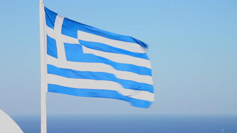 The flag of Greece waves in the wind Stock Video Footage