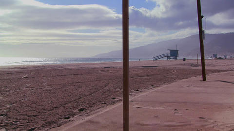 A late afternoon scene on an empty beach in Los An Stock Video Footage