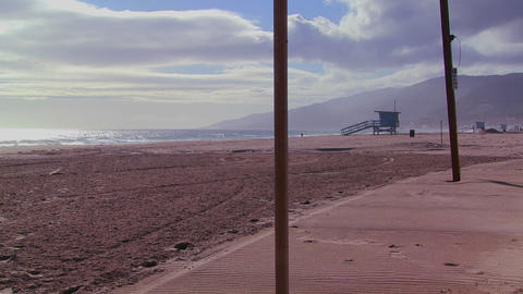 A late afternoon scene on an empty beach in Los An Footage
