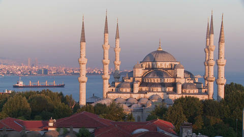 The Blue Mosque In Istanbul, Turkey At Dusk With C stock footage