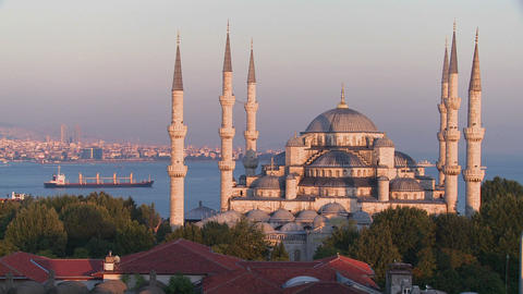 The Blue Mosque in Istanbul, Turkey at dusk with c Stock Video Footage