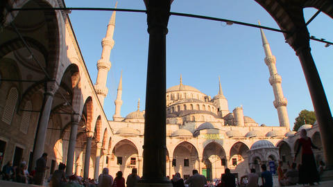 An interiorcourtyard view of the Blue Mosque In Is Footage