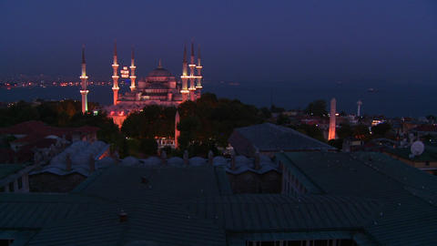 Wide shot at night of the Blue Mosque, Istanbul, T Footage