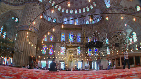 The interior of the Blue Mosque in Turkey Stock Video Footage