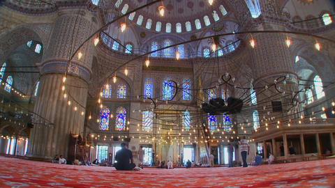 The interior of the Blue Mosque in Turkey Footage