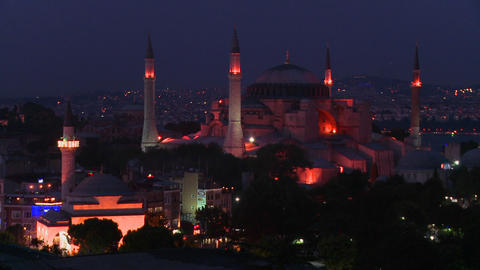 The Hagia Sophia Mosque in istanbul, Turkey at dus Stock Video Footage