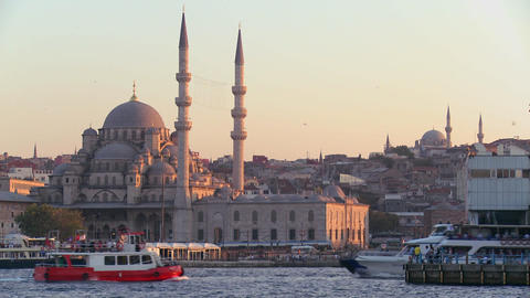 Boats passing in front of the mosques of Istanbul, Stock Video Footage