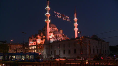 A tram passes in front of a mosque in istanbul, Tu Stock Video Footage