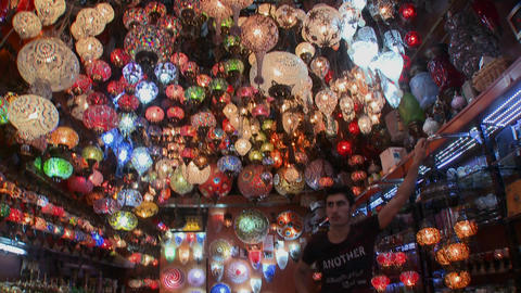 Multicolored lamps and lights in a store in Istanb Stock Video Footage