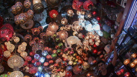 Multicolored lamps and lights in a store in Istanb Footage