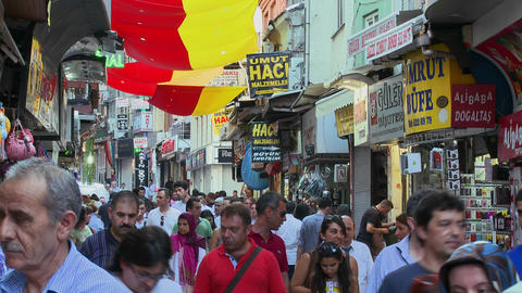 The crowded streets near the Grand Bazaar in istan Stock Video Footage
