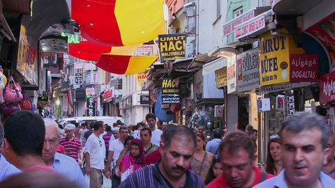 The crowded streets near the Grand Bazaar in istan Footage