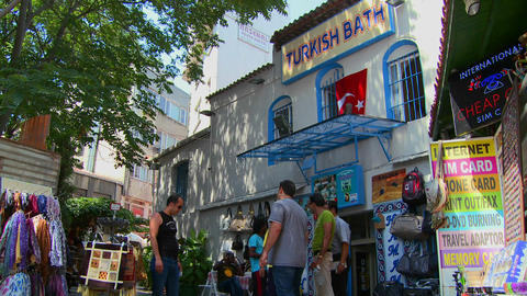 Exterior of a Turkish bathhouse in Istanbul, Turke Stock Video Footage