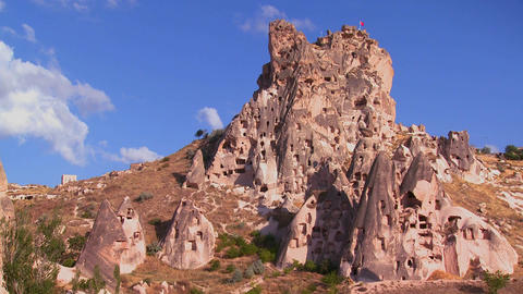 Strange towering dwellings and rock formations at Stock Video Footage