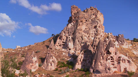 Strange towering dwellings and rock formations at  Footage