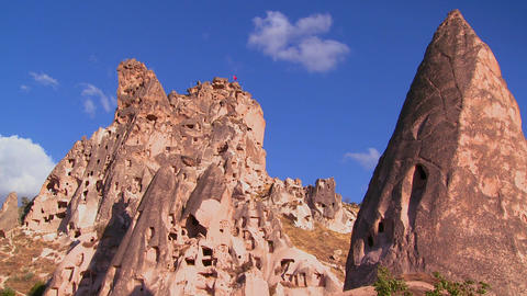 The strange towering dwellings and rock formations Stock Video Footage