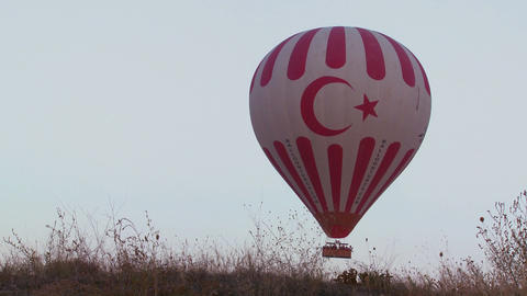 The Turkish flag is displayed on a hot air balloon Footage