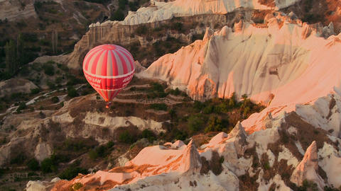 A high angle of hot air balloons flying over Cappa Stock Video Footage