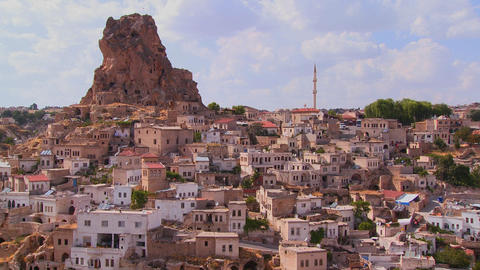 A village in Central Turkey in the region of Cappa Stock Video Footage