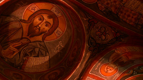 Low angle view of Christian painted ceilings in a Stock Video Footage