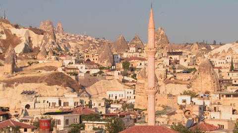 The town of Goreme in Cappadocia, Turkey Stock Video Footage