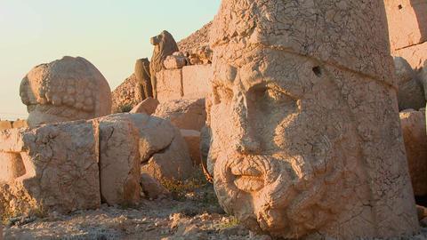The great archeological heads on the top of Mt. Ne Stock Video Footage
