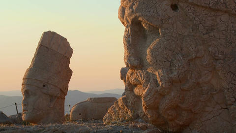 Detail of the great archeological ruins on the top Stock Video Footage