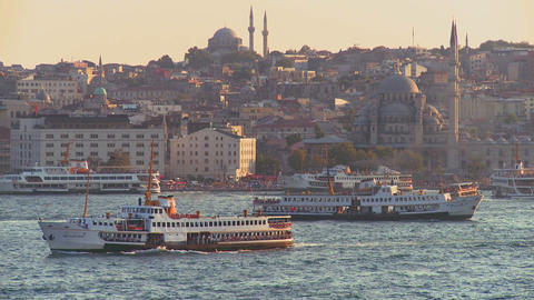 Boats and ferries cross the busy Bosphorus in ista Footage
