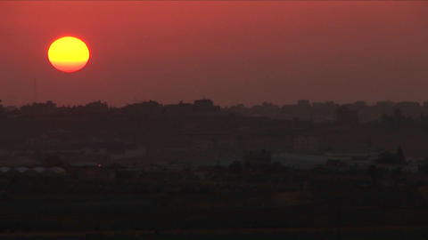 A multi colored sky over the Gaza border Stock Video Footage