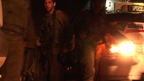 Israeli soldiers arrive early in the morning for a... Stock Video Footage