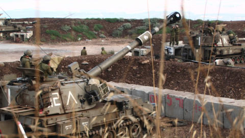 An Israeli army tank moves its barrel into firing... Stock Video Footage