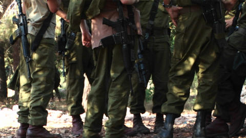 Israeli army soldiers attend a briefing during operations in the Israel - Lebanon war Footage
