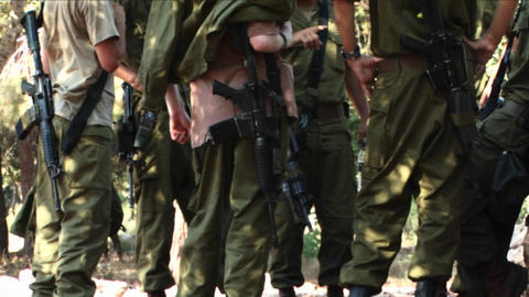 Israeli army soldiers attend a briefing during operations... Stock Video Footage