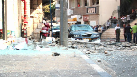 Broken glass and debris line the streets of Haifa, Israel... Stock Video Footage