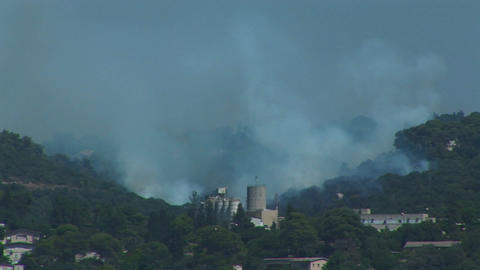 Plumes of smoke rise from the mountains around Haifa,... Stock Video Footage
