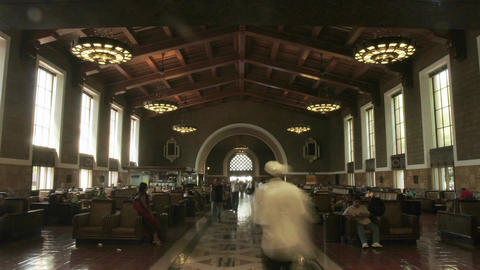 A time lapse of people sitting and walking though a... Stock Video Footage