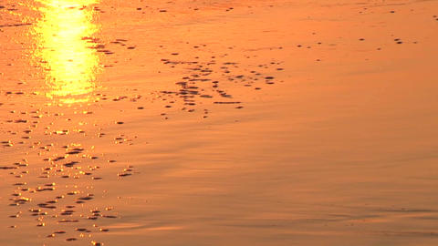 Waves wash onto shore at sunset Footage