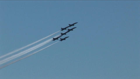 Six Blue Angels jets fly in formation and break into... Stock Video Footage