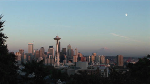 The Seattle, Washington Space Needle at day Footage