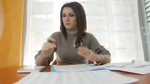 desperate businesswoman at work with accounts and budget problems Footage