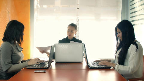Business women working at the computer Footage