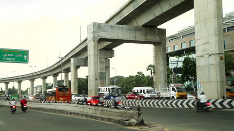 Heavy traffic crossing a bridge, Busy rush hour street scene Footage