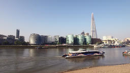 London Thames with Shard and Passenger Boat Footage