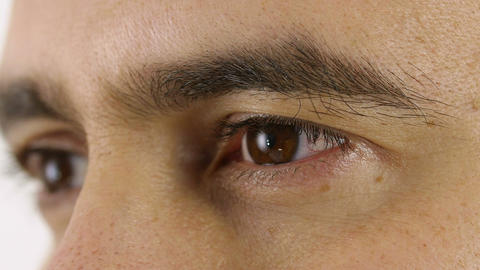man opens eyes: young man eyes; look, gaze, intensive, pensive Live Action