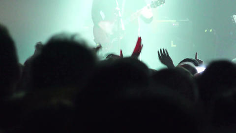 crowd at the concert: stage, singer, musicians, guitarist, people, silhouette Footage