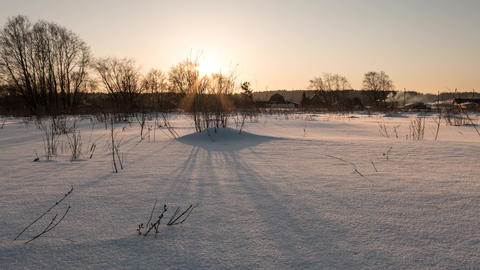 Shadows on the snow on sunset. Zoom. Time Lapse, Russia Footage